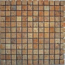 Antalya Noce Travertine Tumbled Mosaic, Brown Travertine Mosaic