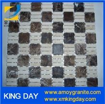 Light Emperador Black + White Marble Mosaic Tile