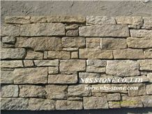 Yellow Rusty Slate Stacked Clutured Stone for Walling, Yellow Granite Cultured Stone