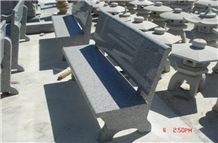 Garden Stone Table and Bench, Natural Stone Grey Granite Bench & Table