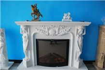 New Design / Western / European Customized Figure /Classy White Marble Hand Carving Sculptured Fireplace Mantel