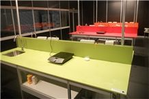 Apple Green Artificial Quartz Stone Pre-Fabricated Counter Top with Iso/Nsf Certificate,Normally Produced Slab Size 118*55 and 126*63,Top Quality and Service,More Durable Than Granite