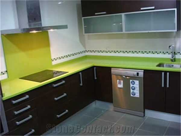 Apple Green Artificial Quartz Stone Slab&Tile Of Low Water ...