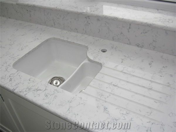 Quartz Counter Tops That Look Like Carrara Marble Right For Your Home And Budget Countertop Normally Produced Slab Size 118 55 126 63 Top Quality