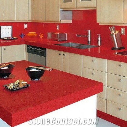 Quartz Solid Surface Kitchen Work Countertop And Island Top With Laminated Edges