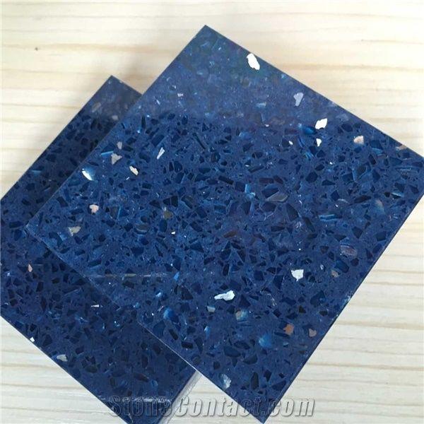 Sparkle Blue Quartz Stone With Bright Surfaces For Prefab