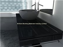 Hunan Ink Black Marble Bathroomm Countertops,Black Marble Vanity Top