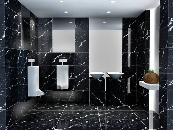 Nero Marquina Marble Bathroom Wall