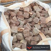 Red Granite Cube Stone,Cobble Exterior