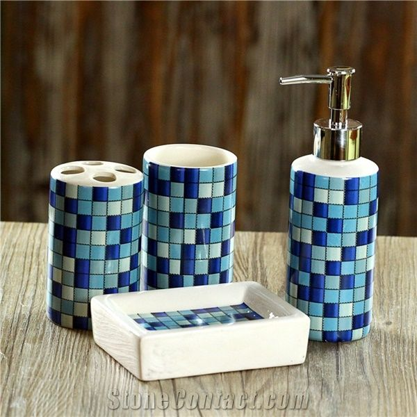 Blue Glass Mosaic Bath Accessories Sets From China Stonecontact Com