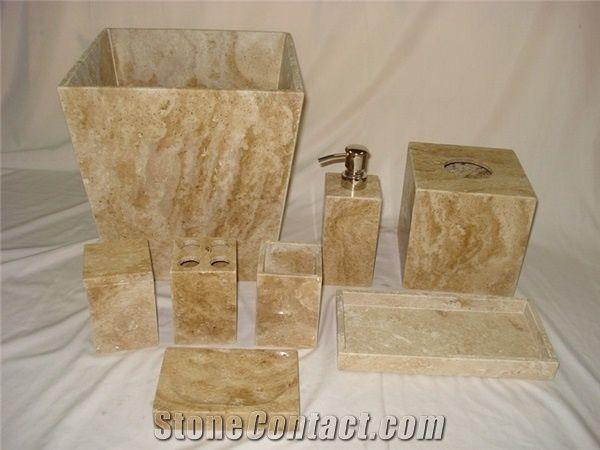 Noce Beige Travertine Bath Accessories/Bathroom Sets From China