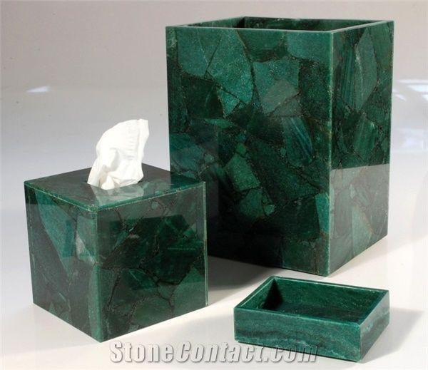 Semiprecious Stone Gemstone Bath, Green Bathroom Sets