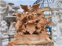 China Beige Hand Carving Marble Fountain Wall Fountain Western Figures Statues Fountains