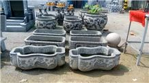 China Blue Limestone Carving Planter Vase Bench Cheap Price External Furniture Planter