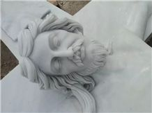 China White Marble Hand Carving Christ One the Cross Jesus Statues