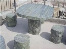 External Street Outdoor Garden Stone Tables and Seat Bench