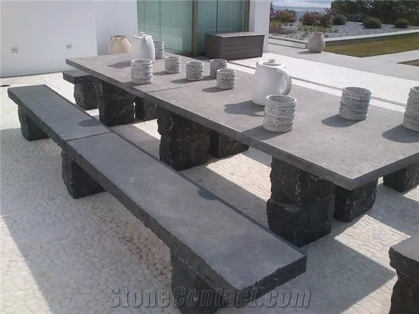 Shandong Blue Stone Table And Bench Honed Surface Rustic Sides Cheap  Outdoor Stone Furniture