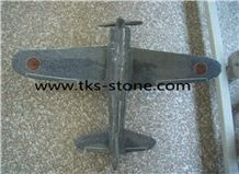 China Grey Marble Plane Hand Works,Aircraft,Plane Sculpture,Plane Art Work& Hand Works,Aircraft Handicraft Caving
