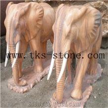 China Red Granite Animal Sculptures/Elephant Maximus/Elephant
