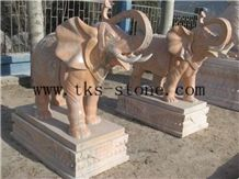 China Red Granite Elephant Sculptures in Marble/Elephant Maximus/Handicraft Works