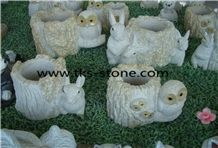 China Yellow Granite Pencil Vase, Art Works,Carving Crafts & Handicraft ,Hand Works