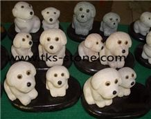 Dog Animanl Sculpture Carving,Lovely Animal Stone Handicrafts,Dog Stone Carving