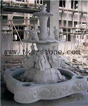 Fountain Sculpture/Cultural Landscape/Fortune, Grey Granite Sculpture & Statue
