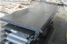 G654 Padang Black Granite Steps & Risers,China Dark Grey Flamed Granite Stairs & Steps