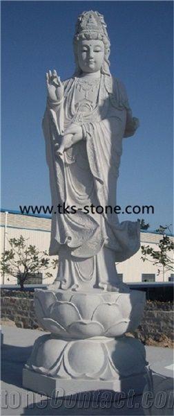 Wholesale White Marble Female Buddha Statues Guanyin Statue Sitting Guanyin Buddha Stone Statue