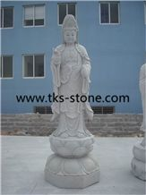 Wholesale White Marble Female Buddha Statues Guanyin Statue ,Sitting