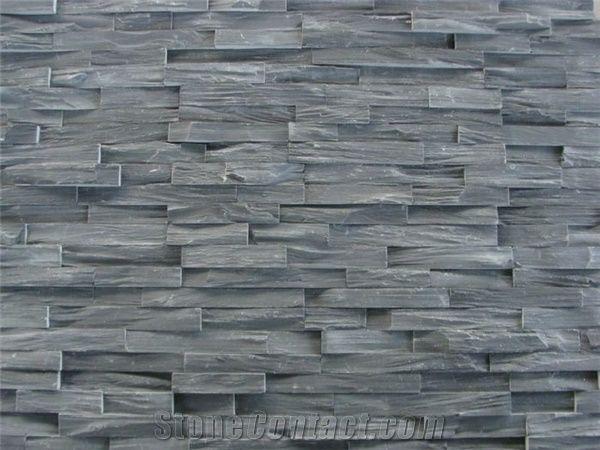 Chinese Natural Dark Grey Slate Cultured Stone Veneer