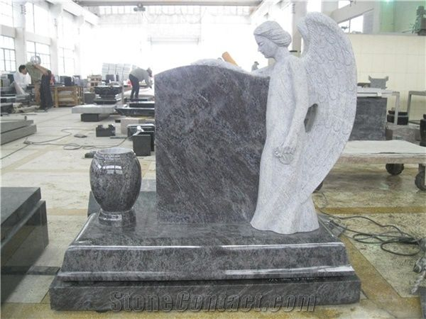 Bahama Blue Granite Angel Tombstones And Monuments From