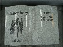 Grey Granite Book Design Gravestone with Rose and Cross Carving