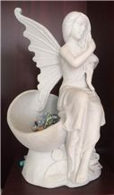 China Han White Marble Angel Sulpture