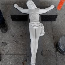 Guangxi White Marble Sculpture Jesus Christ Cross Tombstone Statues