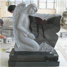 Shanxi Black Granite Angel Headstone Butterfly Tombstone