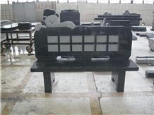 Black Granite Headstone Benches for Grave