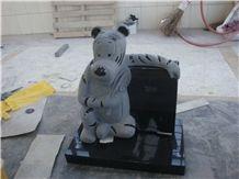 Children Headstone Granite Monument with Bear Statue, Black Granite Monument & Tombstone