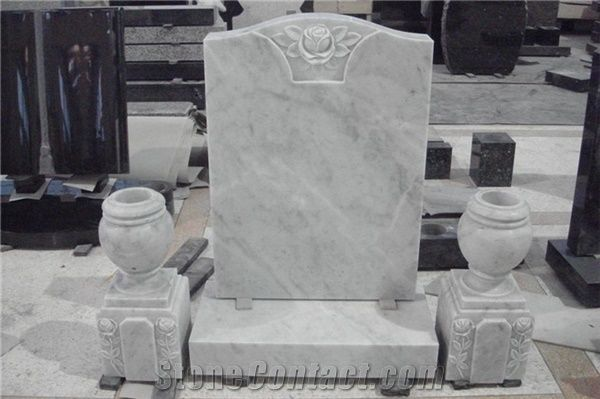 White Marble Headstone With Vases White Marble Monument
