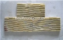 Vietnam Crystal White Marble, Salt White Marble, Black and Yellow Marble Mosaic