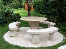 La Grosse Borne Limestone Garden Furniture, Beige France Limestone Bench & Table