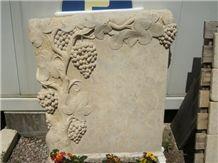 La Grosse Borne Limestone Hand Carved Flower Pot, Beige France Limestone Flower Pot