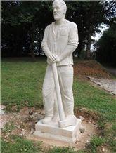 La Grosse Borne Limestone Hand Carved Sculpture, Beige Limestone for Statue