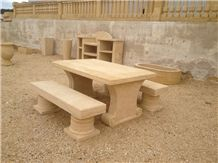 Pierre De Mauzens Benches, Beige Limestone Bench & Table
