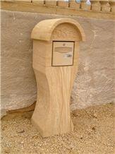 Pierre De Mauzens Lettter Boxes, Beige Limestone Mailbox