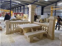 Pierre De Paussac Limestone Bench and Table