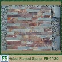 Brown Slate Stone Rusty Cultured Stone,Natural Surface for Wall Decoration,Rusty Stone Veneer