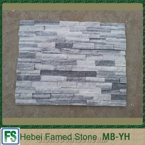 White Quartz Stacked Stone Tiles Slabs
