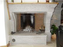 Pierre De Ruoms Limestone Fireplace