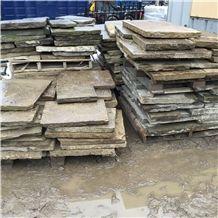 Reclaimed Yorkshire Stone Paving, Random Sizes, Beige Sandstone Cube Stone & Pavers